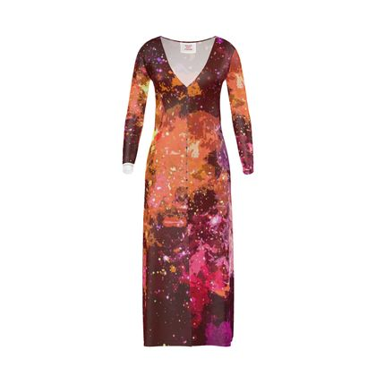 Long Ladies Cardigan - Orange Nebula Galaxy Abstract
