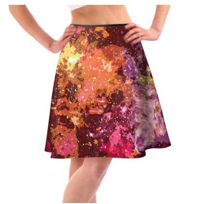Knee-Length Flared Skirt - Orange Nebula Galaxy Abstract