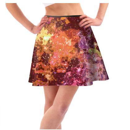 Short Flared Skirt - Orange Nebula Galaxy Abstract