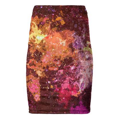 Pencil Skirt - Orange Nebula Galaxy Abstract