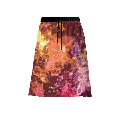 Midi Skirt - Orange Nebula Galaxy Abstract
