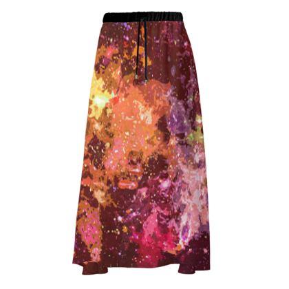 Maxi Skirt - Orange Nebula Galaxy Abstract