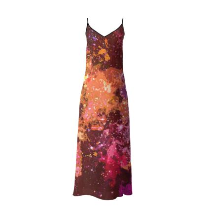 Long Slip Dress - Orange Nebula Galaxy Abstract