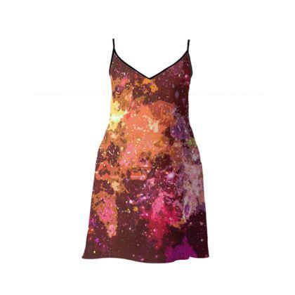 Short Slip Dress - Orange Nebula Galaxy Abstract