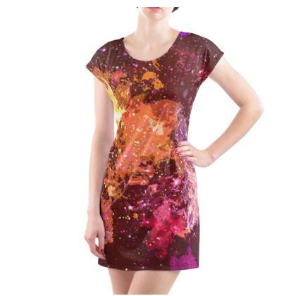 Ladies Tunic T Shirt - Orange Nebula Galaxy Abstract
