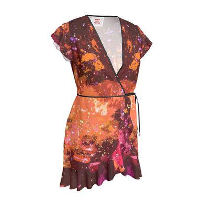 Tea Dress - Orange Nebula Galaxy Abstract