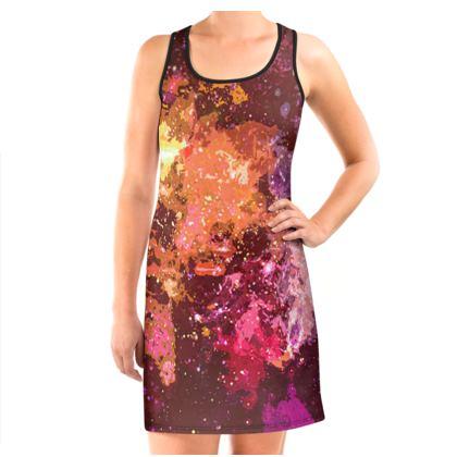 Vest Dress - Orange Nebula Galaxy Abstract
