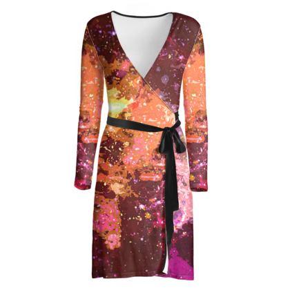 Wrap Dress - Orange Nebula Galaxy Abstract