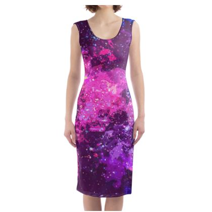Bodycon Dress - Pink Nebula Galaxy Abstract