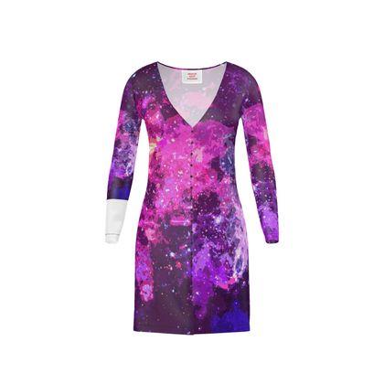Short Ladies Cardigan - Pink Nebula Galaxy Abstract