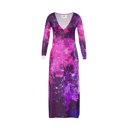 Long Ladies Cardigan - Pink Nebula Galaxy Abstract