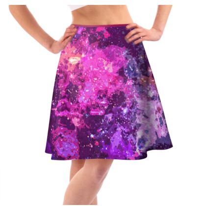 Knee-Length Flared Skirt - Pink Nebula Galaxy Abstract
