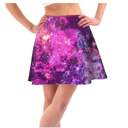 Short Flared Skirt - Pink Nebula Galaxy Abstract