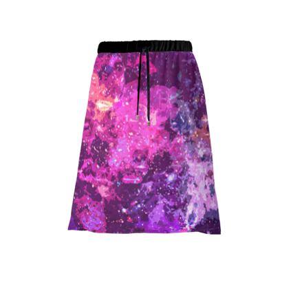 Midi Skirt - Pink Nebula Galaxy Abstract