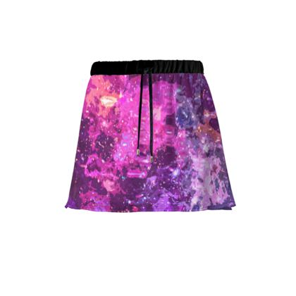 Mini Skirt - Pink Nebula Galaxy Abstract