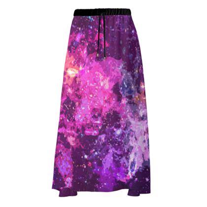 Maxi Skirt - Pink Nebula Galaxy Abstract