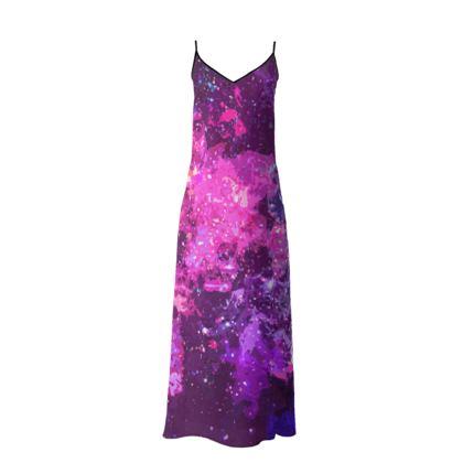 Long Slip Dress - Pink Nebula Galaxy Abstract