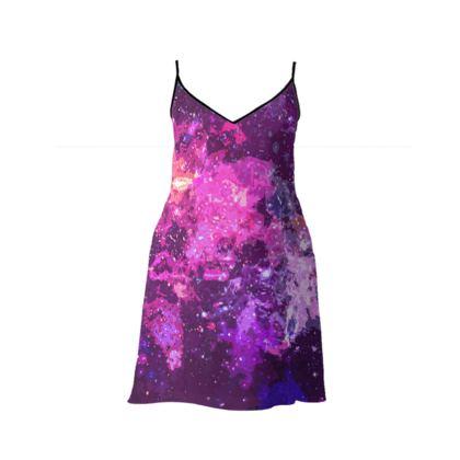 Short Slip Dress - Pink Nebula Galaxy Abstract