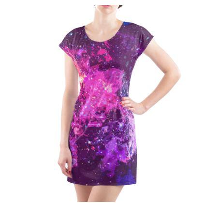 Ladies Tunic T Shirt - Pink Nebula Galaxy Abstract