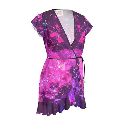 Tea Dress - Pink Nebula Galaxy Abstract