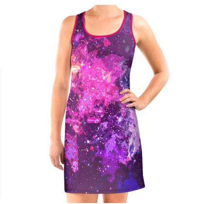 Vest Dress - Pink Nebula Galaxy Abstract