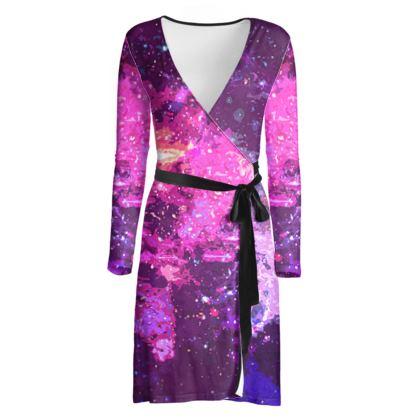 Wrap Dress - Pink Nebula Galaxy Abstract