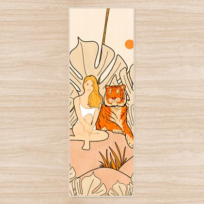 The summer tiger and the girl yoga mat