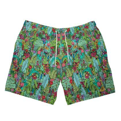 A green spring swimming shorts
