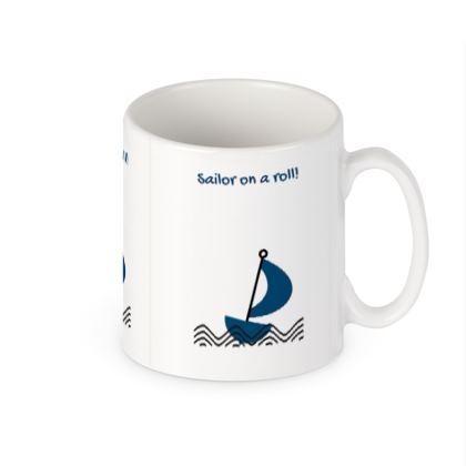 """Sailor On a Roll"" Boating Mug"
