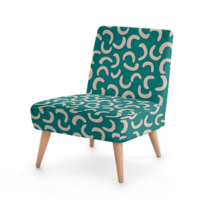 Turquoise and Beige Occasional Chair