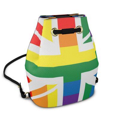 LGBTQ England Uk rainbow flag bucket backpack