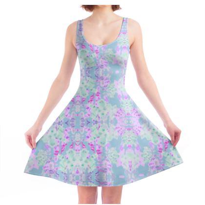 Skater Dress Blue, Pink, Floral  Moonlight  Afternoon