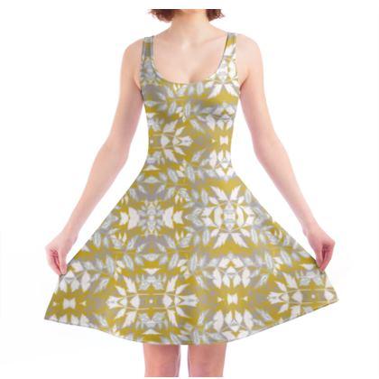Skater Dress Gold, White, Botanical  Slipstream  Treasure
