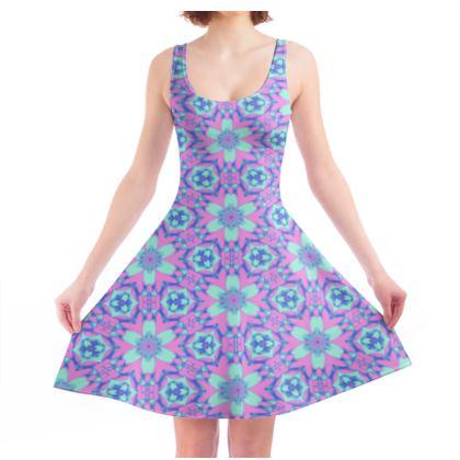 Skater Dress, Blue, Pink, Floral  Geometric Florals  Hyacinth