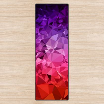 Yoga Mat in the ULTRA VIOLET GEOMETRIC RAINBOW design