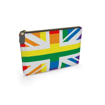 LGBTQ+ England UK flag leather pouch