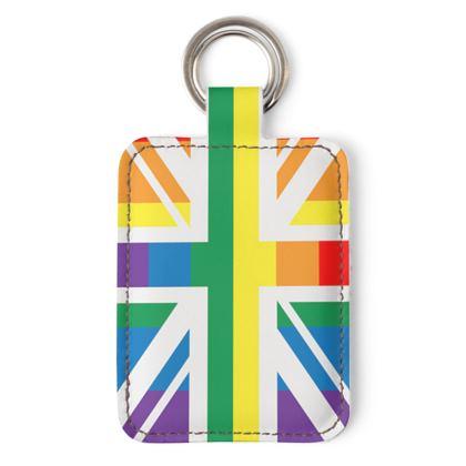 LGBTQ+ England UK flag leather keyring