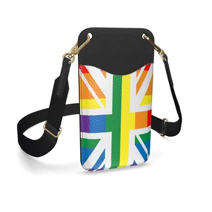 LGBTQ+ England UK flag leather phone case with strap