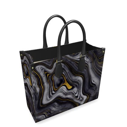 dark agate stone leather shopper bag