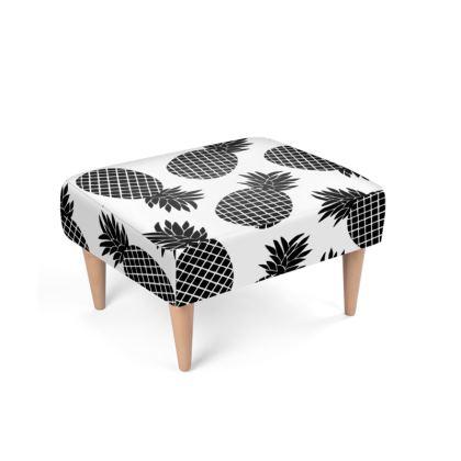 Pineapple In Black Footstool
