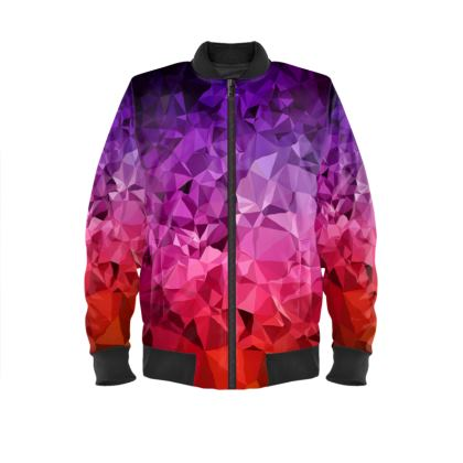 Ladies Bomber Jacket in the ULTRA VIOLET GEOMETRIC RAINBOW design