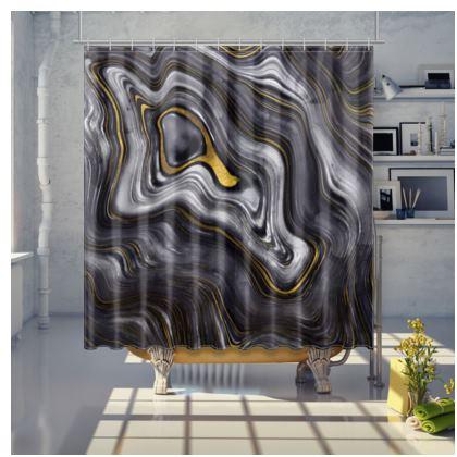 dark agate stone shower curtain