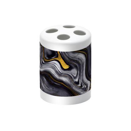 dark agate stone toothbrush holder