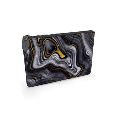 dark agate stone leather pouch
