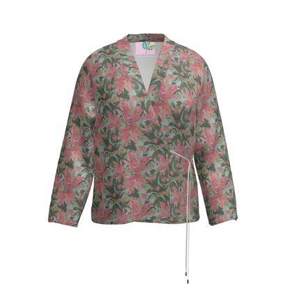 Wrap Blazer Pink, Green, Floral  Lily Garden  Schubert