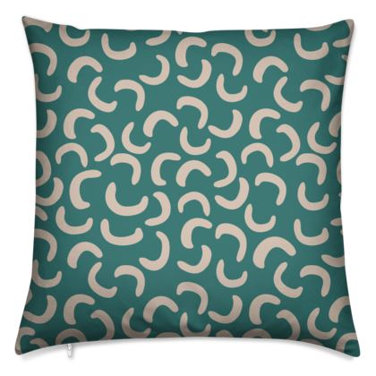 Two-faced Cushion - Turquoise and Beige