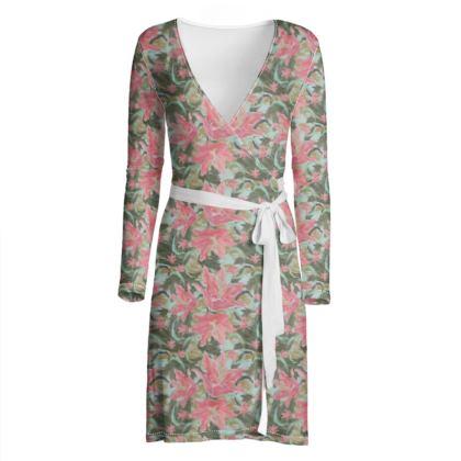 Wrap Dress Pink, Green, Floral  Lily Garden  Schubert