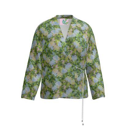 Wrap Blazer Blue Green Floral  Fuchsias  Newt