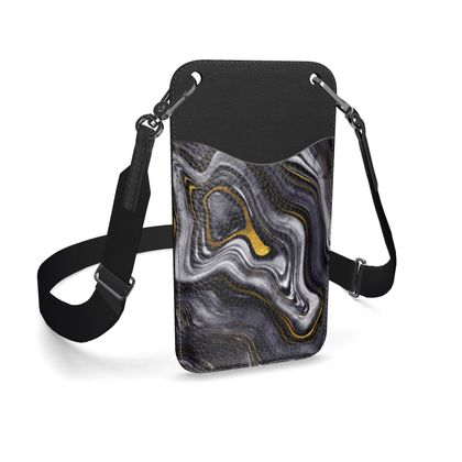 dark agate leather phone case with strap