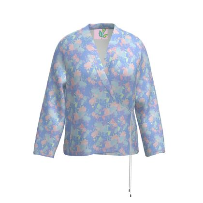 Wrap Blazer Blue, Pink, Floral  Fuchsias  Baby Blue